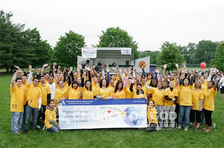 World Mission Society Church of God, WMSCOG, Church of God, Walk now for autism speaks, autism awareness, autism research, bergen community college, paramus volunteer, yellow shirts, family fun, children,