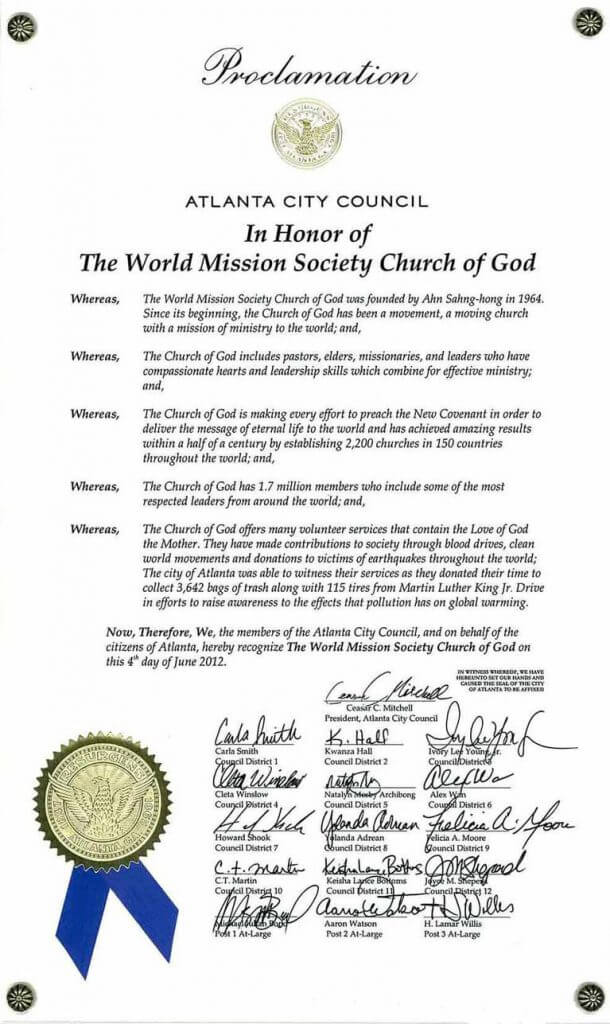 world mission society church of god, church of god in atlanta, atlanta city council, proclamation, clean up, pollution, global warming, community service, volunteer service, martin luther king