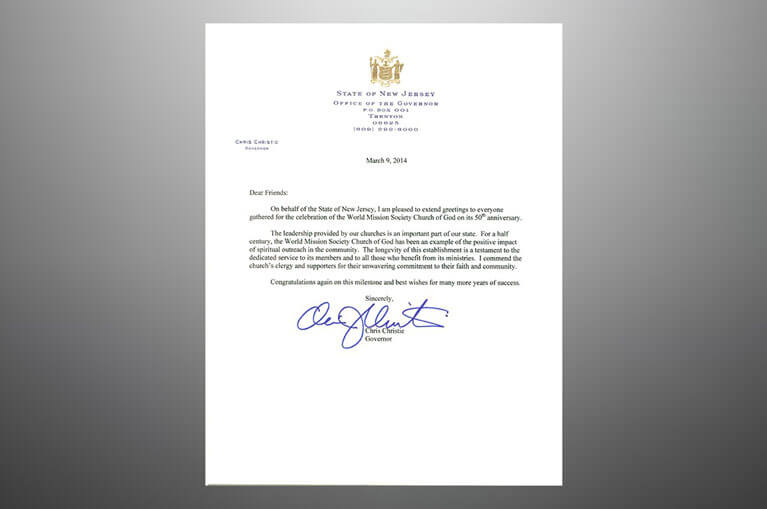 Governor Chris Christies congratulatory letter to the World Mission Society Church of God