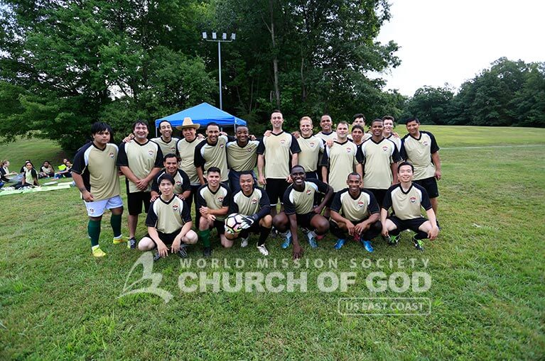 Group photo of World Mission Society Church of God members who played during the 2016 Soccer Tournament