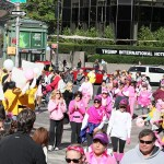 WMSCOG, World Mission Society Church of God, Chruch of God, Yellow shirts, cheering, volunteering, smile campaign, breast cancer awareness, avon, avon breast cancer walk, pink, fight cancer, nyc