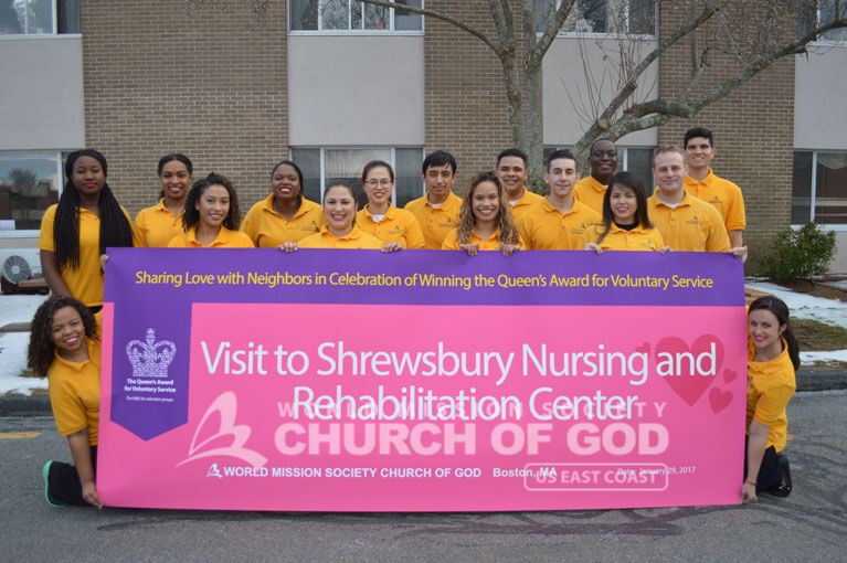 Group photo of World Mission Society Church of God volunteers after Shrewsbury Nursing and Rehabilitation Center visit