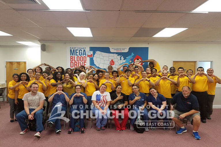 east coast mega blood drive 2016, world mission society church of god in boston, yellow shirt, volunteer