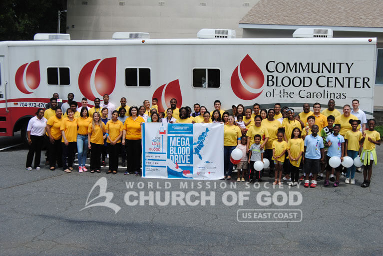 east coast mega blood drive 2016, world mission society church of god, charlotte, yellow shirt, volunteer
