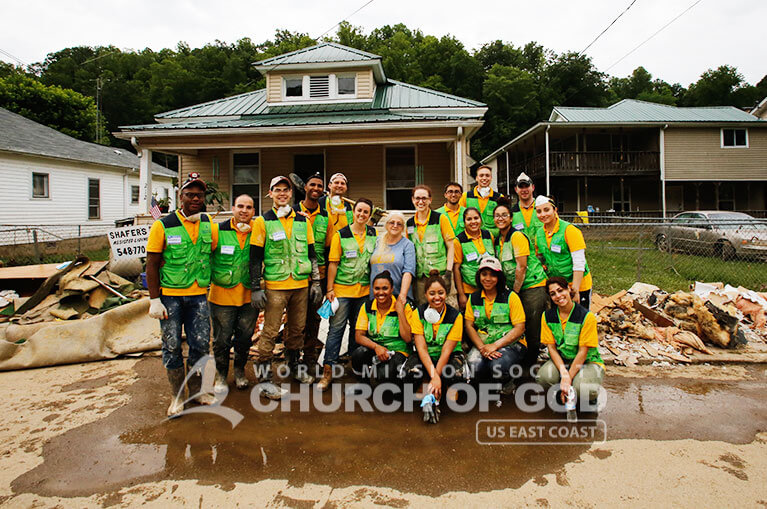 Group photo of World Mission Society Church of God volunteers after West Virginia flood relief efforts