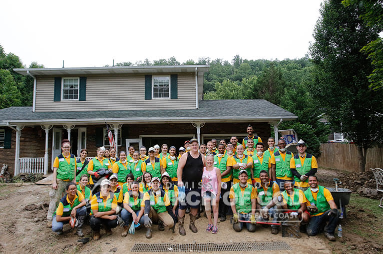 Group photo of World Mission Society Church of God volunteers after West Virginia flood relief efforts.