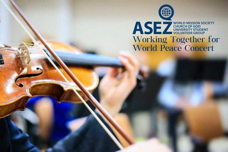 close up image of World Mission Society Church of God violinist during ASEZ Working Together for World Peace Concert