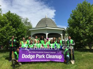 Group photo of World Mission Society Church of God volunteers after Dodge Park cleanup in Boston