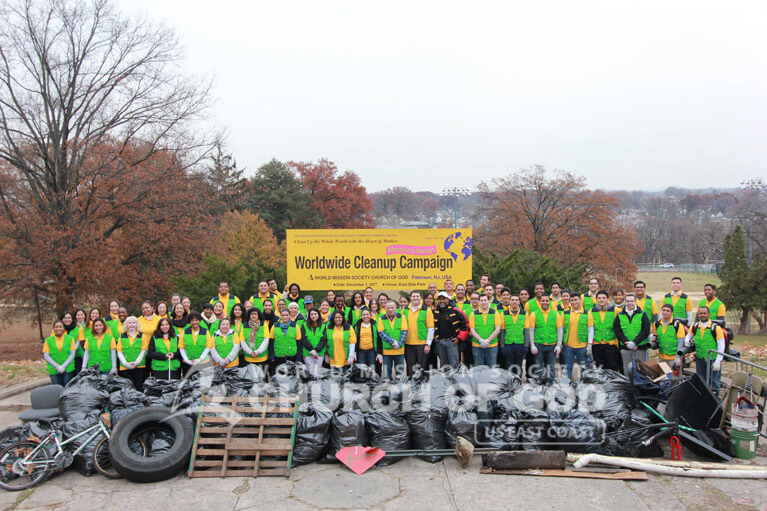 Group photo of World Mission Society Church of God volunteers after Mothers Street cleanup in Paramus, NJ