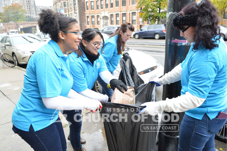 ASEZ, wmscog, world mission society church of god, boston, ma, massachusetts, cleanup, landscaping, reduce crime, volunteerism, new england, Hurricane Willa, Brookline, mother's street
