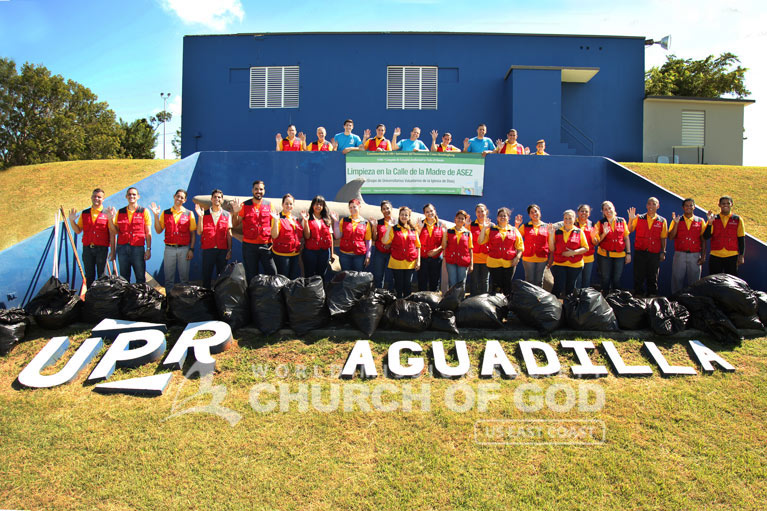 Group photo of ASEZ volunteers from the World Mission Society Church of God after Mothers Street cleanup at the University of Puerto Rico in Aguadilla