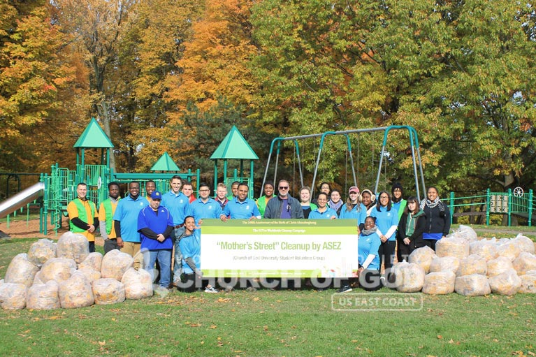 ASEZ, wmscog, world mission society church of god, NY, Syracuse, cleanup, reduce crime, volunteerism, university, Mother's Street, Thornden Park
