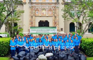 Group photo of ASEZ volunteers from the World Mission Society Church of God after Mothers Street cleanup at the University of Puerto Rico