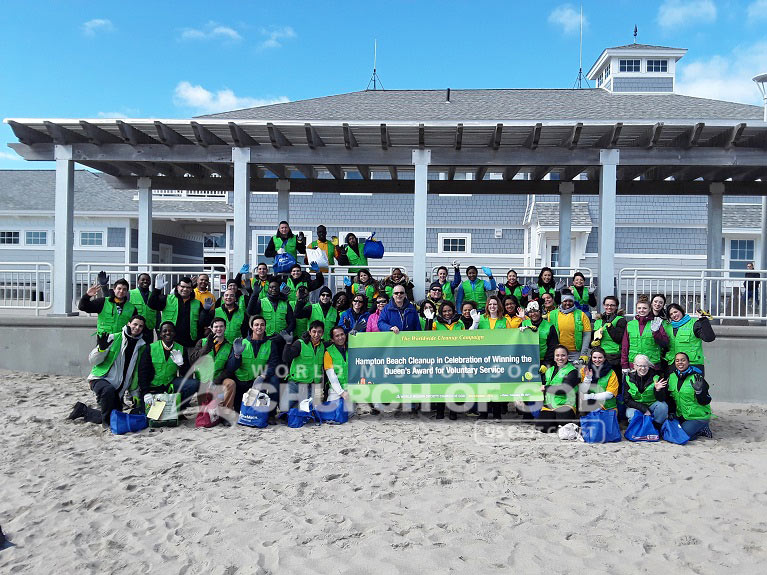 Group photo of World Mission Society Church of God volunteers after Hampton Beach cleanup