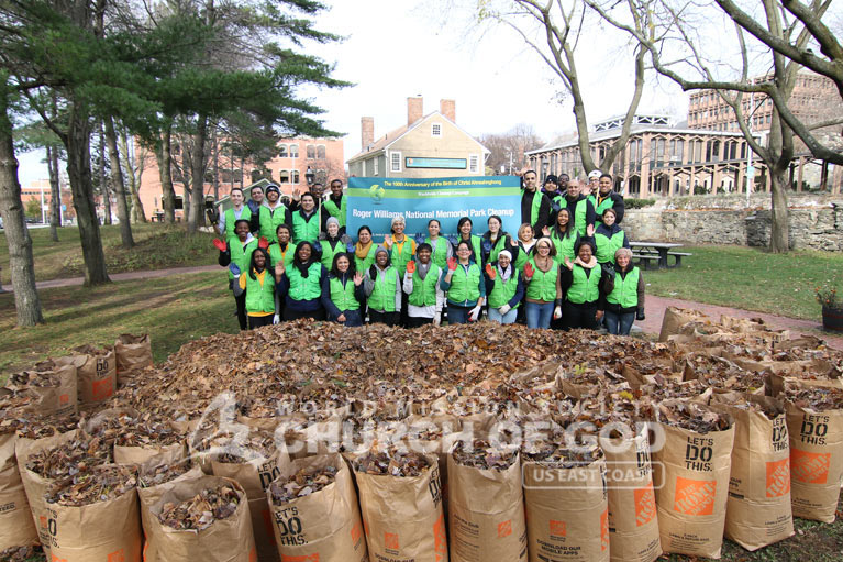 Group photo of ASEZ volunteers from the World Mission Society Church of God after Roger Williams Park cleanup