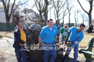 ASEZ volunteers removing debris from Roberto Clemente Park in Paterson, NJ.