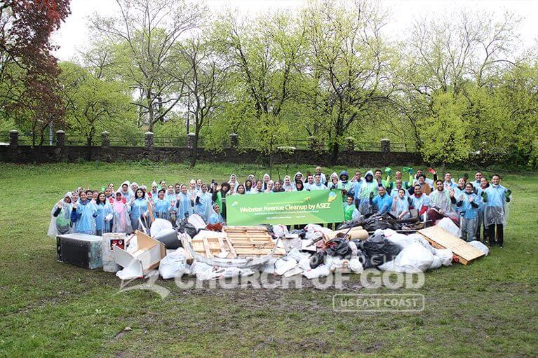 Group photo of ASEZ volunteers during their Webster Ave cleanup in Norwood, Bronx, NY
