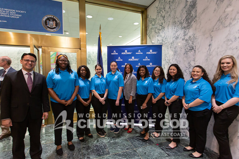 ASEZ volunteers with NY State Senator Monica Martinez at the New York State Capitol