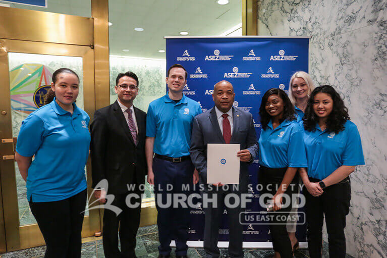 ASEZ volunteers with Speaker of the New York State Assembly, Carl E. Heastie