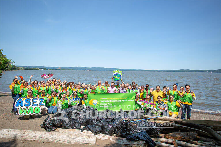 Group photo of ASEZ WAO during their Haverstraw Beach State Park Cleanup in New York.