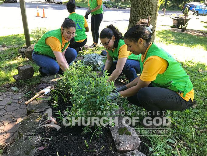 ASEZ WAO members planting shrubs