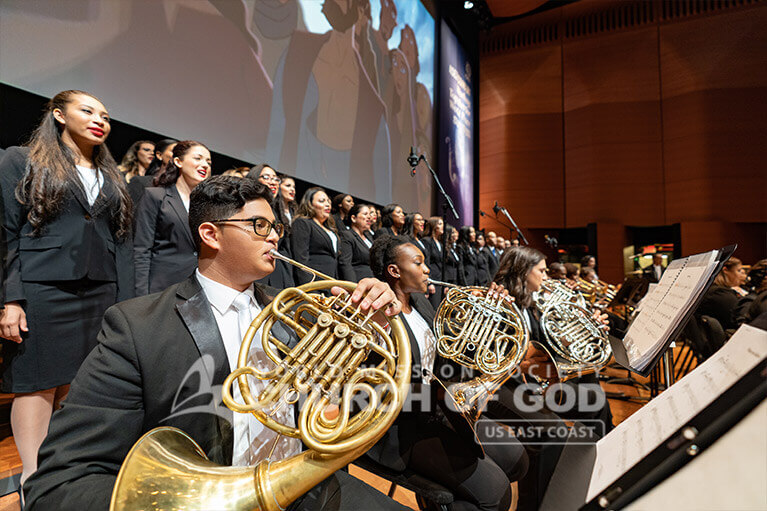French horns playing during the ASEZ concert at the Lincoln Center