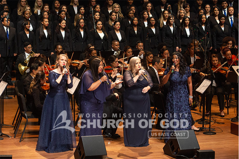 The female quartet performing during the ASEZ concert at the Lincoln Center