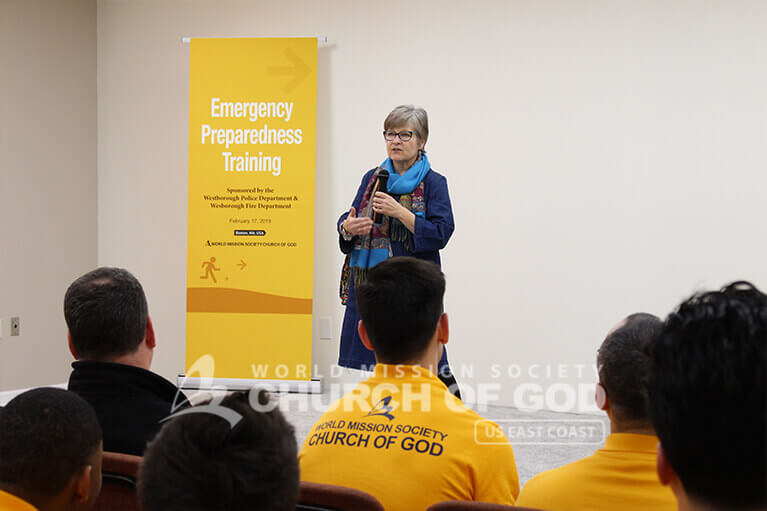 Donna Nelson speaking at the New England Emergency Preparedness Training in Westborough, MA