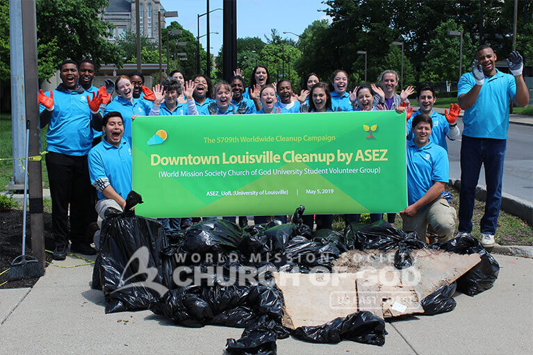 Group shot ASEZ volunteers during their JCTC cleanup in Louisville, KY