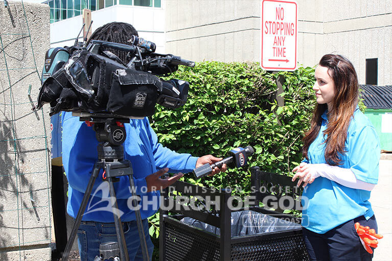 ASEZ volunteer being interviewed by a local news station