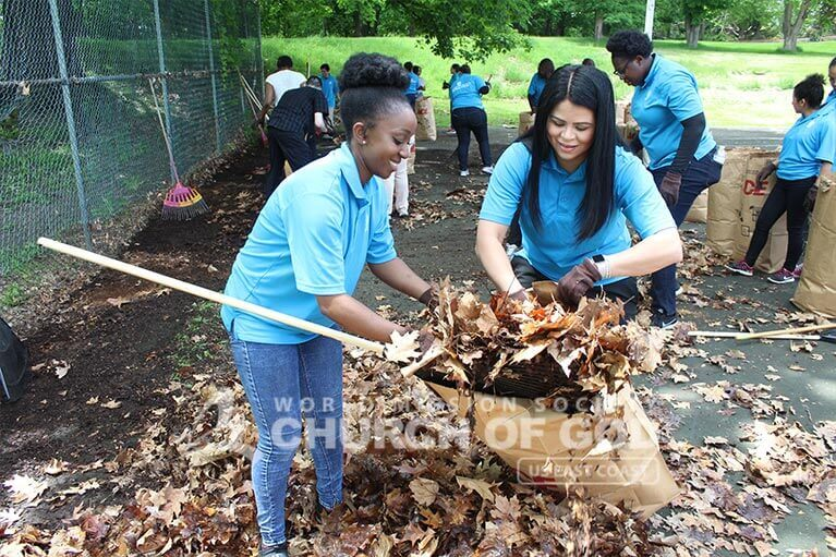 ASEZ volunteers working happily to remove leaves from Prospect Park