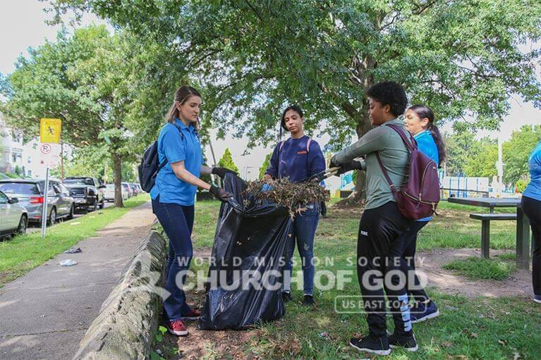 Student volunteers from ASEZ removing brush from the Wrigley Park neighborhood.