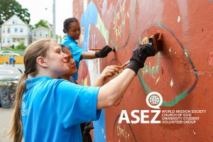 ASEZ volunteers painted over graffiti in Wrigley Park in Paterson, NJ.