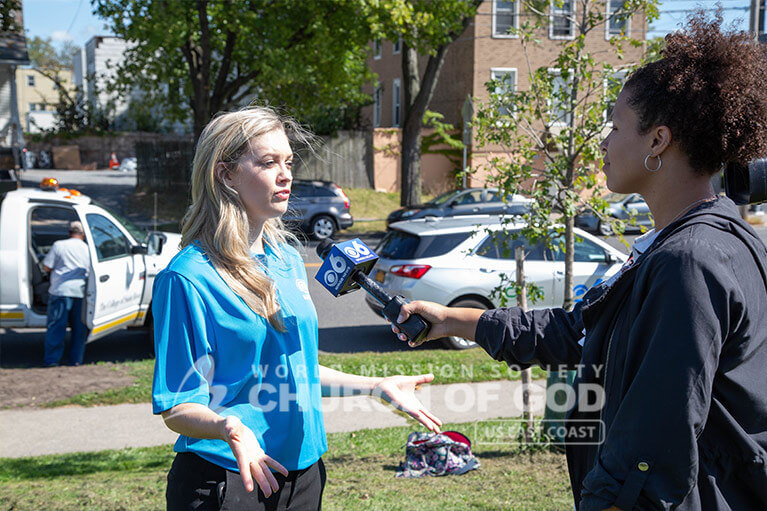 ASEZ representative speaking with CBS 6 News about the Zero Crime Street Cleanup in Albany.
