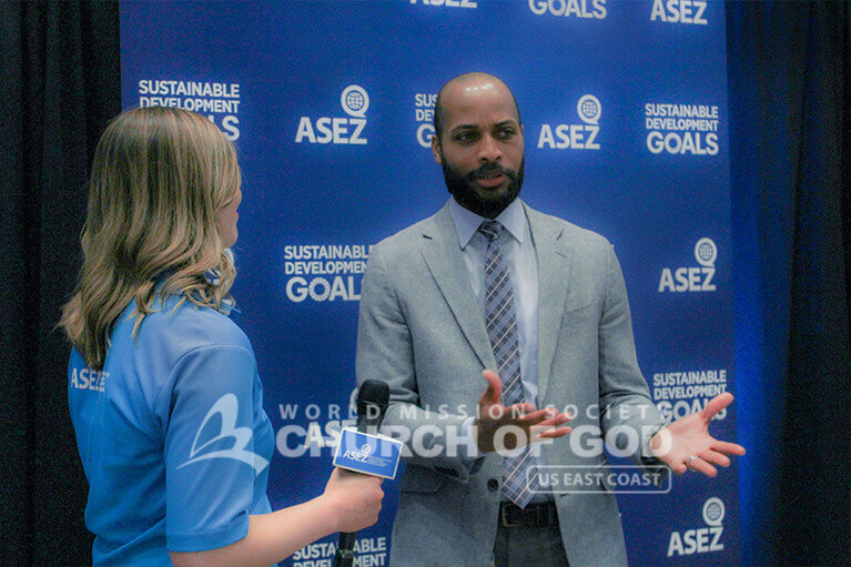 Rashaad Abdur-Rahman speaking about ASEZ's Crime Prevention Forum in Louisville, KY