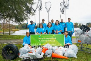 Group photo of ASEZ volunteers at their Leroy Hoequist Park cleanup.
