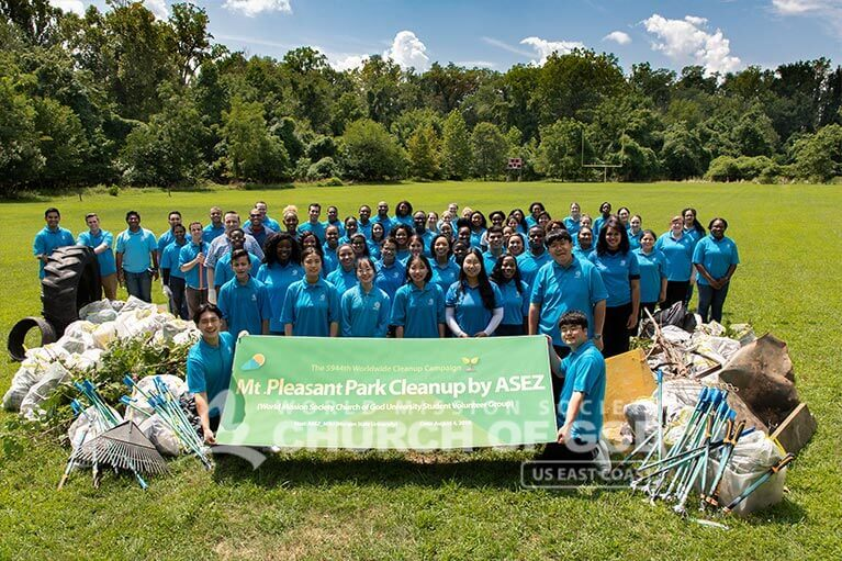 Group photo of ASEZ volunteers during their Mt. Pleasant Cleanup in Baltimore, MD.